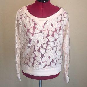 EUC BCBG Pink Lace Sweater